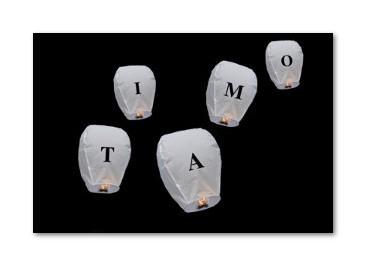Lanterne Volanti con Lettere per fare una Dedica