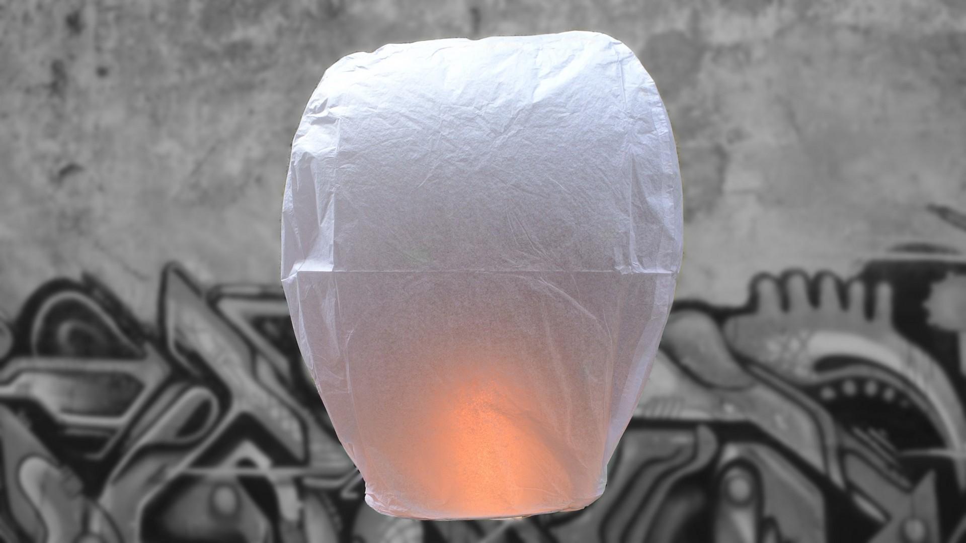 Witte Wens Ballon - Vliegende Lantaarn Professioneel