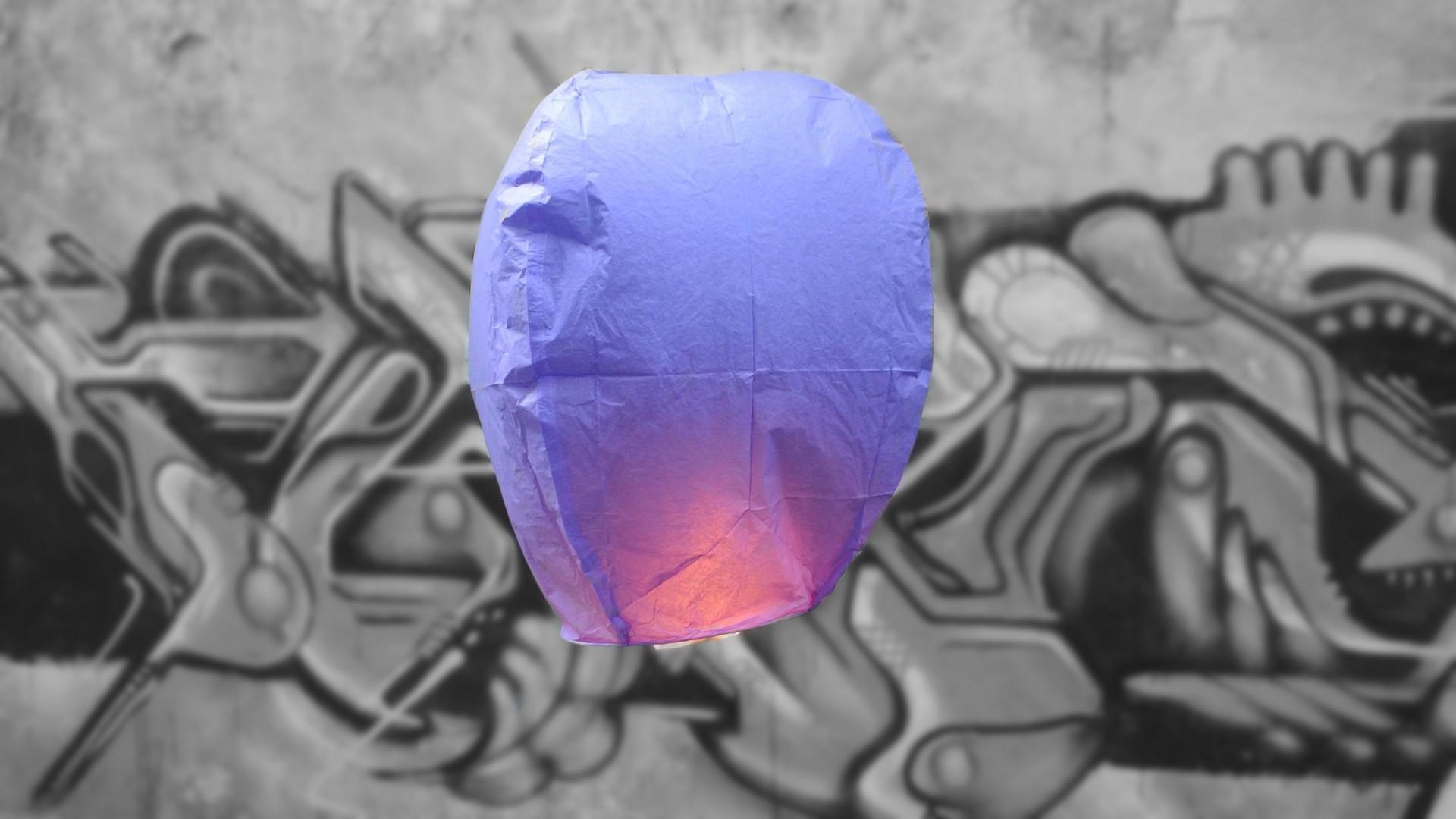 Paarse Wens Ballon - Vliegende Lantaarns Professioneel