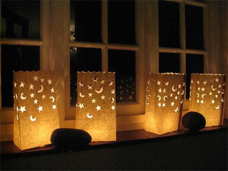 Sacchetti portacandele luminosi potete mettere in tavola fuori o al interno, intanto sono ignifughi