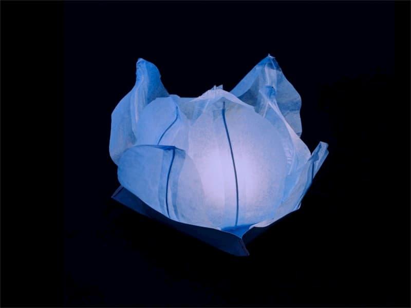 lanterne galleggiante piccola a forma di ninfea fiore di loto, per la piscina, laghetto o anche da appoggiare per terra o in tavola, facile da usare, apri, pieghi, inserisci la candela e la fai galleggiare sull'acqua, candela compresa, colore azzurro