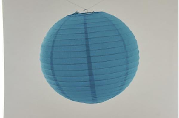 Lanterna Giapponese tonda di carta di riso, con gancio, basta aprire ed appendere, utilizzo facile, per illuminare d'entro o fuori con luce elettrica o ance con LED a batteria, per una festa o l'arredamento, colore della lanterna orientale: blu e diametro 30 cm