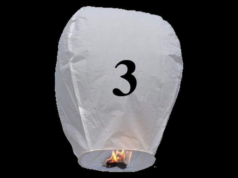 Lanterne volanti certificate e sicure con le lettere, scrivi un messaggio che vola nel cielo, pronto per l'uso, apri accendi e volano: la lanterna volante con il numero: 3