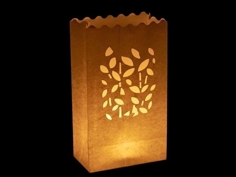 sacchetto luminoso per candele da usare al interno o in giardino da illuminare, carta ignifuga e biodegradabile, per una festa,  matrimonio o una serata in giardino, con rametti e foglie di misure diverse, senza scritte, facile da usare.
