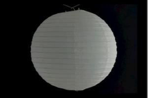 Hanging round rice paper Japanese lantern color white diameter 40 cm