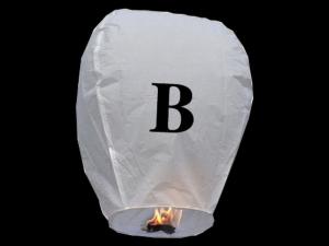 Lanterne volanti certificate e sicure con le lettere, scrivi un messaggio che vola nel cielo, pronto per l'uso, apri accendi e volano: la lanterna volante con la lettera B