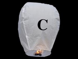 Lanterne volanti certificate e sicure con le lettere, scrivi un messaggio che vola nel cielo, pronto per l'uso, apri accendi e volano: la lanterna volante con la lettera C