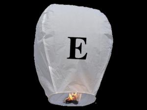 Lanterne volanti certificate e sicure con le lettere, scrivi un messaggio che vola nel cielo, pronto per l'uso, apri accendi e volano: la lanterna volante con la lettera E