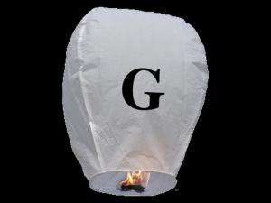 Lanterne volanti certificate e sicure con le lettere, scrivi un messaggio che vola nel cielo, pronto per l'uso, apri accendi e volano: la lanterna volante con la lettera G