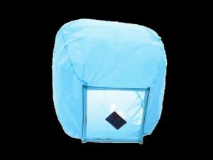 La lanterna volante mini  di colore azzurro molto facile da usare, carta resistente e combustibile già montato e forte, vola in attimo, certificata, ignifuga e biodegradabile