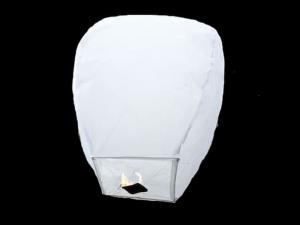 La lanterna volante mini  di colore bianca molto facile da usare, carta resistente e combustibile già montato e forte, vola in attimo, certificata, ignifuga e biodegradabile