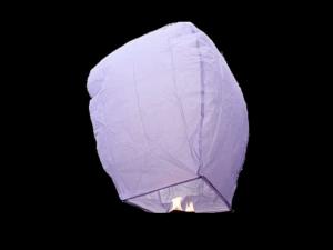 La lanterna volante mini  di colore viola molto facile da usare, carta resistente e combustibile già montato e forte, vola in attimo, certificata, ignifuga e biodegradabile