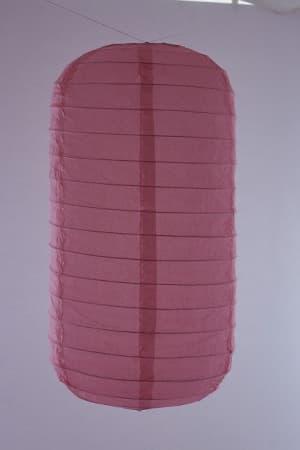 Hanging tubular rice paper Japanese lantern color pink