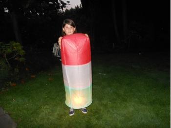 Lanterna Volante rosa a forma tubolare con il tricolore: Le nostre lanterne volanti pronte per l'uso, facile da usare, per un anniversario, un matrimonio, una laurea o qualsiasi altra festa, certificata, ignifuga e biodegradabile