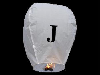 Lanterne volanti certificate e sicure con le lettere, scrivi un messaggio che vola nel cielo, pronto per l'uso, apri accendi e volano: la lanterna volante con la lettera J