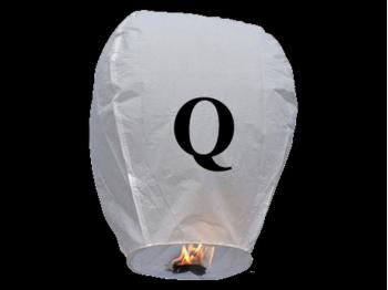 Lanterne volanti certificate e sicure con le lettere, scrivi un messaggio che vola nel cielo, pronto per l'uso, apri accendi e volano: la lanterna volante con la lettera Q