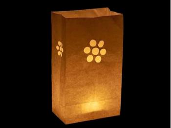 sacchetto luminoso per candele da usare al interno o in giardino da illuminare, carta ignifuga e biodegradabile, per una festa,  matrimonio o semplicemente  una serata in giardino, con un cuore e  senza scritte, semplice da usare.