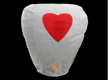 witte wensballonnen met een rood hart in de vorm van een hete luchtballon,  klassiek model, perfect voor een bruiloft of willekeurig ander feest, klaar voor gebruik, brandwerend en biologisch afbreekbaar papier
