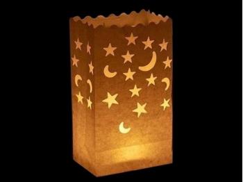 sacchetto luminoso per candele da usare al interno o in giardino da illuminare, carta ignifuga e biodegradabile, per una festa, natale, matrimonio o una serata in giardino, con luna e stelle