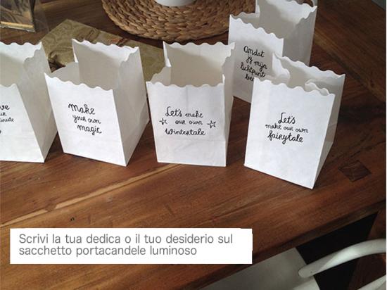 scrivi il tuo messaggio, desiderio, pensiero sul sacchetto portacandele luminose, più bello di una cartolina, anche come regalo molto originale, o come dichiarazione d'amore!